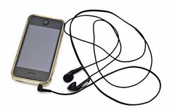 Iphone e fone de ouvido fotos de stock