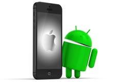 Iphone e insignia androide Imagen de archivo