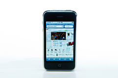 IPhone with eBay website. IPhone with seamless background visiting the eBay website Royalty Free Stock Image