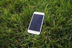 IPhone 6 en la hierba Imágenes de archivo libres de regalías