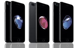 Iphone 7. IPhone is a front view and back view on isolated white background stock photography