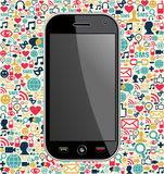 Smart phone network icon background Royalty Free Stock Photo
