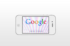 IPhone & Google. Google website displayed on the iPhone screen royalty free illustration