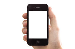 Iphone in hand. Hand holding a iPhone 4s with white blank screen. isolated on white Stock Images