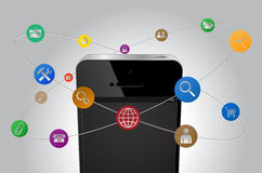 IPhone internet. IPhone mobile internet communications icon Stock Photos