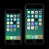 iPhone 7 4 7 Iphone 7 más 5 5 ilustración del vector