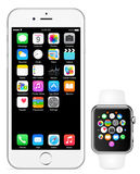 Iphone 6 Jabłczany zegarek Zdjęcie Stock