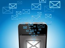 IPhone mail. IPhone with incoming outgoing Message icon Royalty Free Stock Image