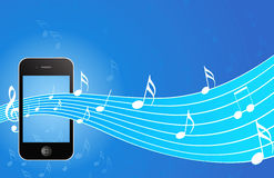 IPhone with music background Royalty Free Stock Photos