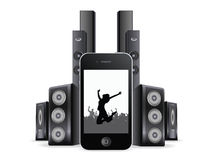 IPhone with music backgrounds and soundspeakers Royalty Free Stock Photography