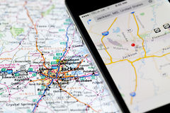 Iphone with navigation application on map of Jackson Royalty Free Stock Photo