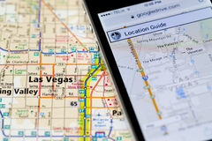 Iphone with navigation application on map of Las Vegas Royalty Free Stock Photography
