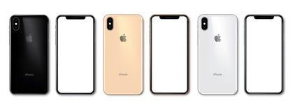 IPhone novo Xs em 3 cores ilustração royalty free