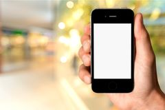 Iphone. Phone hand screen white blank texting stock photography