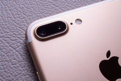 IPhone 7 plus dual camera unboxing - best smartphone camera. PARIS, FRANCE - SEP 16 2016: New Apple iPhone 7 Plus unboxing in the first day of sales - two camera Stock Photography