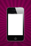 Iphone purple. Iphone a smartphone with purple ray background Royalty Free Stock Images