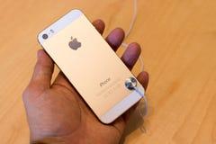 IPhone 5S金子在苹果计算机商店 库存图片