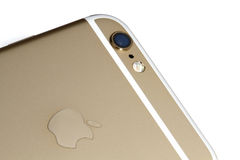 Iphone 6s camera. IPhone 6s gold, rear camera close-up Royalty Free Stock Images