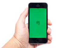 IPhone 5S com Evernote app Foto de Stock Royalty Free