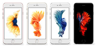 IPhone 6s. Cracow, Poland, November 19 2015: Presentation of new models iPhone 6s from Apple Inc stock images