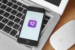 iPhone 5s with mobile application for Viber on the screen Stock Photo