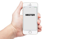 iPhone 5s with Moster app Stock Image