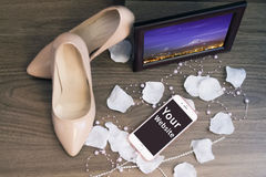 My wedding day photo frame shoes and iphone blank screen Stock Photography