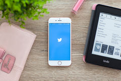 IPhone 6S Rose Gold with Twitter on the screen Stock Images