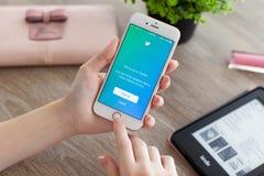 IPhone 6S Rose Gold van de vrouwenholding met Twitter op het scherm Royalty-vrije Stock Afbeeldingen