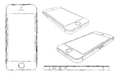 IPhone 5s sketched drawing. Isolated Vector Illustration