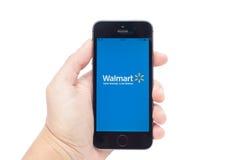 IPhone 5S with Walmart Stock Image