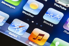 Iphone screen. A close up of an iphone screen with apps Royalty Free Stock Image