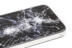 IPhone 4 with seriously broken retina display screen stock photo