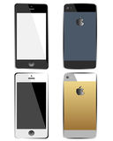 IPhone set. A set of iPhones seen from the front and from the back royalty free illustration
