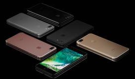IPhone 7 sinais de adição no fundo preto Fotografia de Stock