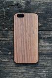 IPhone 6 Walnut wood case Stock Images