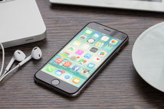 Iphone 6 on working table Stock Photo