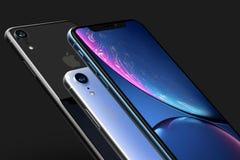 3 iPhone XR Blau Silber und Raum-intelligente Telefone Graus auf Schwarzem