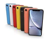 IPhone XR de Apple todos los colores, posición vertical, alineada ilustración del vector