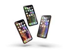 IPhone XS智能手机的一个新版本从苹果计算机的 库存图片