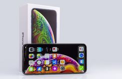 IPhone Xs Max on glass stock images