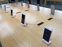 IPhones at the Apple Store. An image of iPhones at the Apple Store Stock Photo