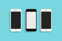 3 IPhones. On a colored background stock illustration