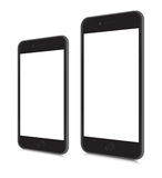 IPhones 6 and 6 plus. Vector mockups realistic iphones 6 and 6 plus in angled position. eps 10 format Royalty Free Stock Photos