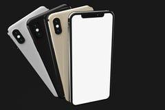 IPhonexs Zilveren, Gouden en Ruimte Grijze smartphones, voor app modellen vector illustratie