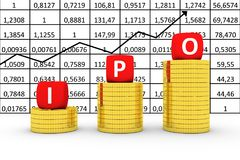 Free IPO Concept Business Gold Coin On The Background Of Quotations Royalty Free Stock Photography - 111907757