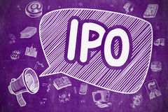 IPO - Doodle Illustration on Purple Chalkboard. Royalty Free Stock Photography