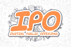 IPO - Doodle Orange Text. Business Concept. Stock Photography