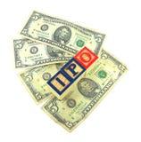 IPO-Holzklötze auf amerikanischen Dollar Stockfoto