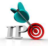 Ipo Initial Public Offering Arrow Target Stock Market. The letters IPO with an arrow in a target bull's eye, representing an initial public offering of a company vector illustration